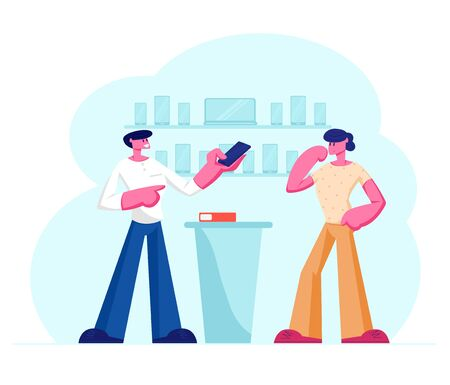 Shop Assistant Showing Smartphone in Hand to Customer Standing at Counter Desk. Man Buying New Cell Phone at Electronics Store. Retail Business, Gadgets Purchase. Cartoon Flat Vector Illustration Illustration