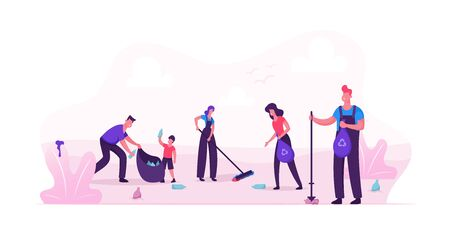 Volunteer People Cleaning Garbage in City Park Area. Volunteering, Men Women Kids Collecting Trash to Sacks, Racking Ground, Charity Social Concept, Ecology Protection Cartoon Flat Vector Illustration Ilustração