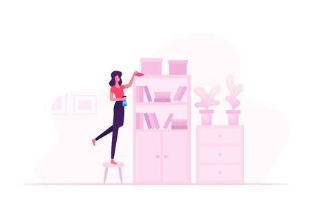 Housewife Cleaning Book Shelves with Duster and Water Sprayer. Woman Wiping Furniture at Home on Weekend. Girl Dusting Modern Apartment Interior, Housework Concept Cartoon Flat Vector Illustration