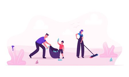 Happy Family Picking Up Litter on Beach or City Park During Cleanup. Mother Father and Son Volunteers Collecting Trash to Bag, Environmental Pollution Problem. Cartoon Flat Vector Illustration