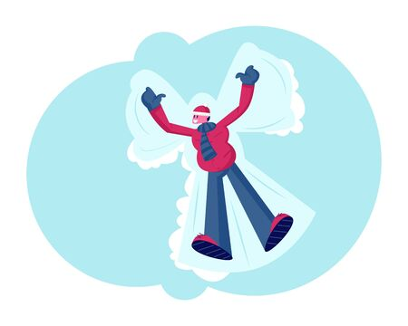 Heureux jeune homme souriant allongé sur un sol enneigé faisant un ange de neige écartant les bras et les jambes s'amusant. Animation d'hiver, loisirs et activités de plein air Illustration vectorielle plane de dessin animé