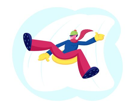 Man Sliding Off Snow Hill on Tubing at Park or Resort. Young Male Character in Knitted Hat and Scarf Sledging at Inflatable Tube, Snowtubing Outdoors Winter Activity Cartoon Flat Vector Illustration