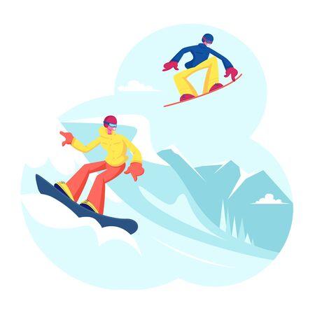 Personas adultas vestidas con ropa de invierno Snowboard. Personajes masculinos y femeninos de los jinetes de snowboard que se divierten y la actividad de deportes de montaña de invierno. Ilustración de Vector plano de dibujos animados de tiempo libre de deporte de resort
