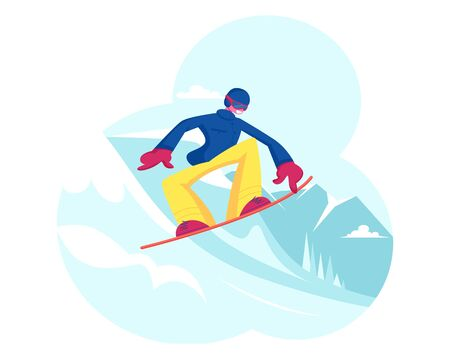 Adult Sportsman Dressed in Winter Clothes and Goggles Snowboarding and Making Stunts on Mountain Ski Resort. Winter Vacation Extreme Sports Activity and Entertainment. Cartoon Flat Vector Illustration