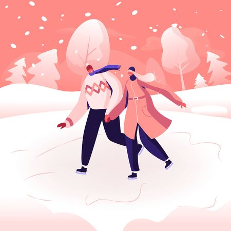 Happy Loving Couple in Warm Clothes Holding Hands Skating Outdoors on Frozen Pond in Winter Park. Wintertime Holidays and Entertainment. Christmas Vacation Spare Time. Cartoon Flat Vector Illustration