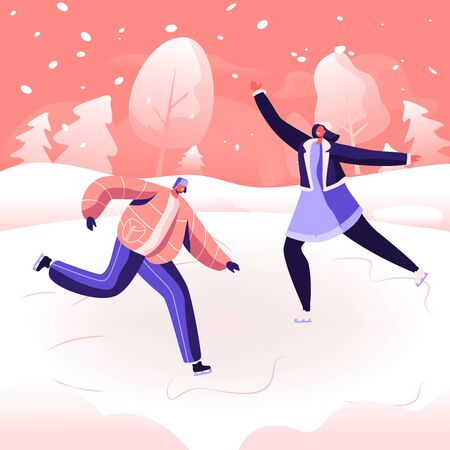 Christmas Holidays Spare Time Amusement. Happy People Performing Leisure Outdoor Activities at Winter Park. Male and Female Characters Figure Skating on Frozen Pond. Cartoon Flat Vector Illustration