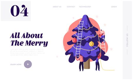 Festive Preparation for New Year or Xmas Holidays Celebration Website Landing Page. Happy People Decorating Christmas Tree with Garlands and Balls Web Page Banner. Cartoon Flat Vector Illustration