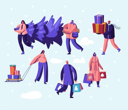 Happy People Citizen Wearing Warm Clothes Prepare for Winter Holidays Carrying Christmas Tree, Buying Gifts for Family and Friends. Greetings and Festive Season Event. Cartoon Flat Vector Illustration