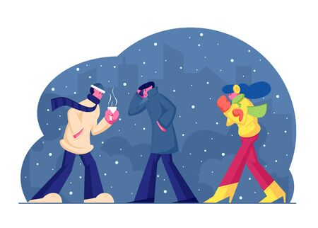 People in Warm Clothes Walking on Street in Cold Weather with Snow and Wind on Cityscape Background, Man Carry Hot Drink, Woman Wrapping to Jacket. Wintertime Season Cartoon Flat Vector Illustration Illustration