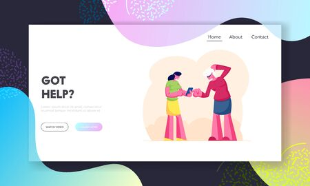 Granny Study to Use Smartphone or Mobile Phone Website Landing Page. Woman Telling Grandmother How to Use Internet on Gadgets. Aged Lady Learn New Tech Web Page Banner Cartoon Flat Vector Illustration Standard-Bild - 130584627