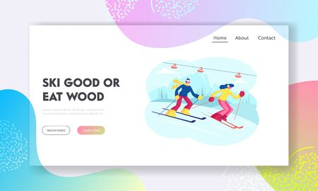 People Skiing Website Landing Page. Man and Woman Skiers Winter Season Sport Activity at Mountain Resort with Snow and Funicular, Recreation Lifestyle Web Page Banner. Cartoon Flat Vector Illustration