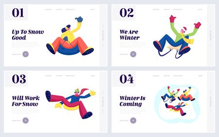 Winter Fun and Active Leisure Website Landing Page Set. Happy People Friends Riding Sled and Tubing Going Downhill Having Fun and Outdoors Recreation Web Page Banner. Cartoon Flat Vector Illustration
