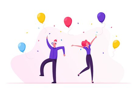 Happy Friends or Business Colleagues in Santa Hats Celebrating Christmas Party Holiday. People Hold Champagne Glasses and Sparklers Dancing and Jumping with Hands Up Cartoon Flat Vector Illustration