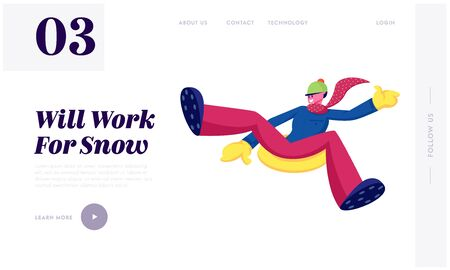 Outdoors Winter Activity Website Landing Page. Man Sliding Off Snow Hill on Tubing at Park or Resort. Young Male Character Sledging at Inflatable Tube Web Page Banner. Cartoon Flat Vector Illustration