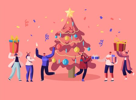 New Year Bash. Happy People Celebrating Party Having Fun and Dancing at Decorated Christmas Tree with Garland and Confetti, Giving Gifts on Family or Corporate Event Cartoon Flat Vector Illustration Illustration