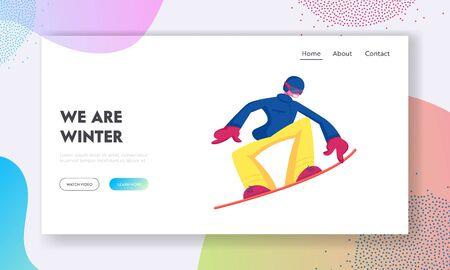 Winter Vacation Extreme Sports Activity Website Landing Page. Sportsman Snowboarding and Making Stunts on Mountain Ski Resort. Snowboard Entertainment Web Page Banner. Cartoon Flat Vector Illustration Illustration