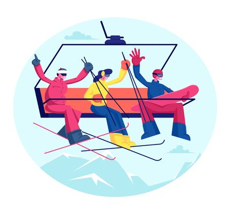 People at Ski Resort Holidays. Skiers and Snowboarder with Equipment Go Up Mountain Funicular. Group of Friends Sportsmen Having Fun and Winter Time Outdoor Activity Cartoon Flat Vector Illustration