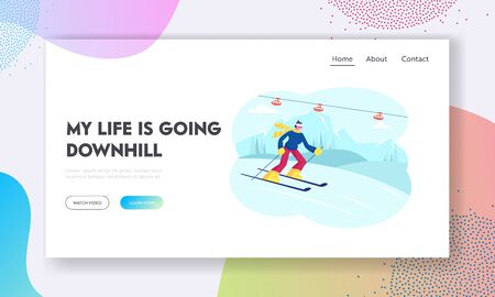 Young Man Skier Going Downhill by Skis Website Landing Page. Winter Time Sports Outdoors Leisure and Spare Time. Wintertime Resort Activity and Fun Web Page Banner. Cartoon Flat Vector Illustration Çizim
