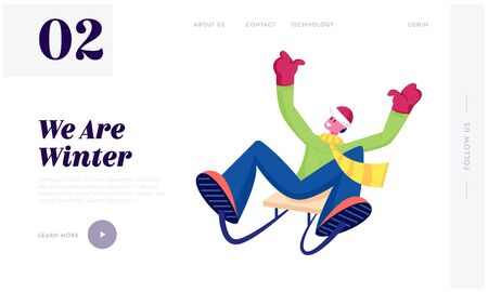 Wintertime Vacation Leisure and Recreation Website Landing Page. Cheerful Man in Warm Clothes Riding Sled Downhill. Winter Season Holidays Spare Time Web Page Banner. Cartoon Flat Vector Illustration