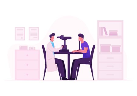 Ophthalmologist Doctor Test Myopia Eye on Special Device. Oculist Checkup Optometry for Eyeglasses. Medical Optician Treatment Patient Foresight Focus Correction. Cartoon Flat Vector Illustration Illustration