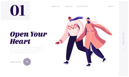 Wintertime Holidays Entertainment Website Landing Page. Happy Loving Couple in Warm Dress Holding Hands Skating Outdoors on Frozen Pond in Winter Park Web Page Banner. Cartoon Flat Vector Illustration