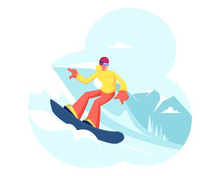Happy Girl Riding Snowboard by Snow Slopes during Winter Time Season Holidays. Sportswoman Having Fun on Ski Resort Going Downhill. Travel Activity Entertainment. Cartoon Flat Vector Illustration Illustration