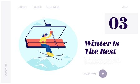 Winter Vacations Activity Website Landing Page. Pretty Woman Skier Go Up Hill on Rope Funicular with Skis. Mountain Cable Lift Elevator on Resort Web Page Banner. Cartoon Flat Vector Illustration
