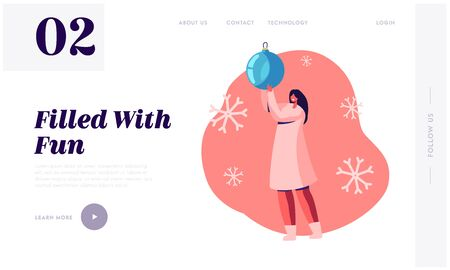 New Year and Christmas Winter Holidays Website Landing Page. Happy Woman Holding Huge Decorative Ball for Fir-Tree Decoration and Falling Snowflakes Web Page Banner. Cartoon Flat Vector Illustration 向量圖像
