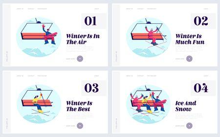 Glückliche Menschen auf Winter Resort Website Landing Page Set. Sportler-Skifahrer und Snowboarder auf Seilbahn-Seilbahn über Mountain Hill Web Page Banner. Flache Vektorillustration der Karikatur