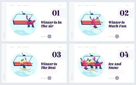 Happy People on Winter Resort Website Landing Page Set. Sportsmen Skiers and Snowboarders on Cable Car Transportation Rope Way over Mountain Hill Web Page Banner. Cartoon Flat Vector Illustration