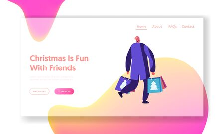Christmas and New Year Shopping Website Landing Page. Web Page Banner. Preparation for Winter Holidays. Happy Male Character in Warm Clothes Walking with Paper Bags Cartoon Flat Vector Illustration