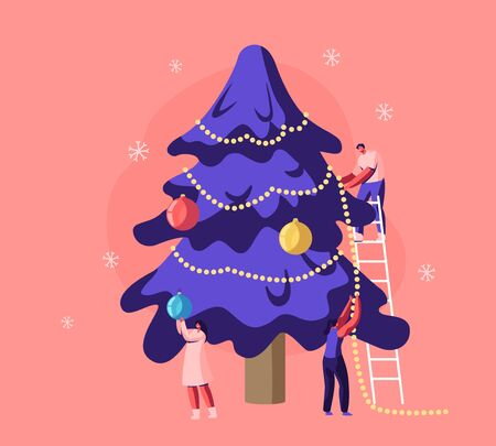 Happy Family or Friends Company Decorating Christmas Tree with Garlands and Balls Standing on Ladder. Festive Preparation for New Year or Xmas Holidays Celebration Cartoon Flat Vector Illustration