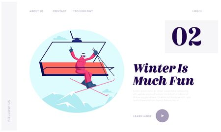 Winter Season Ski Resort Open Website Landing Page. Cheerful Man Skier Rising Up to Hill by Cable Way Waving Hands. Wintertime Sports Fun and Activity Web Page Banner. Cartoon Flat Vector Illustration