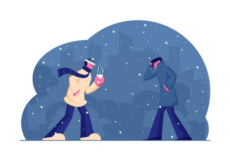 Chilled Passerby People Walking Against Wind and Snow on Street in Cold Snowy Autumn or Winter Weather. Characters Holding Cup with Hot Drink, Speaking by Smartphone Cartoon Flat Vector Illustration Illustration