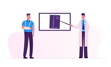 Doctor Stand at Screen Pointing on Xray Image of Patient Broken Arm Bones. Man with Bandage Hand Visiting Clinic or Hospital for Traumatology Practitioner Appointment Cartoon Flat Vector Illustration