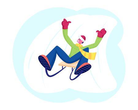 Young Cheerful Man in Warm Clothes Riding Sled Downhill with Arms Up. Winter Season Holidays Spare Time. Wintertime Vacation Leisure and Recreation. Fun and Activity Cartoon Flat Vector Illustration
