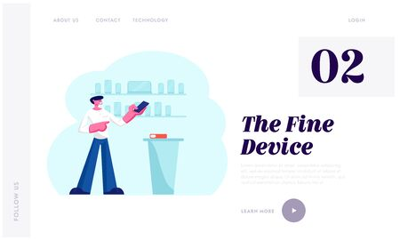 Electronics Store Retail Gadgets Business Website Landing Page. Sales Manager in Mobile Phone Shop Presenting Smartphone
