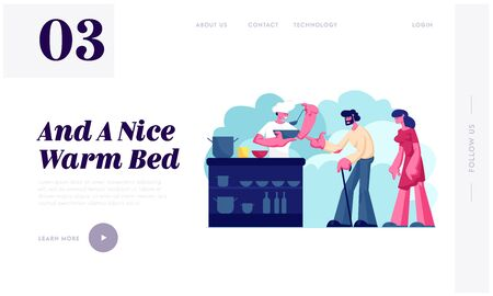 Night Shelter for Homeless Website Landing Page. Emergency Housing for People Without Home. Poor Man and Woman Stand in Queue for Getting Warm Food Web Page Banner. Cartoon Flat Vector Illustration