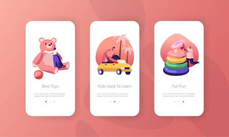People Gaming with Baby Toys in Kindergarten Mobile App Page Onboard Screen Set. Childhood Playing Activity with Playthings for Kids Concept for Website or Web Page, Cartoon Flat Vector Illustration