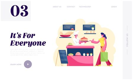 Woman Buying Pastry in Bakery Shop Website Landing Page. Baker in White Uniform Stand at Showcase with Sweet Production Giving to Girl Customer Cake Web Page Banner. Cartoon Flat Vector Illustration 向量圖像