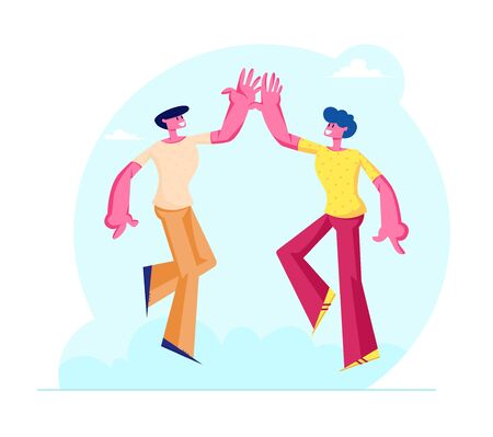 Couple of Male Friends Characters Take High Five to Each Other as Symbol of Friendship and Solidarity. Human Bonding Relations, Connection between Pals or Buddies Cartoon Flat Vector Illustration Illusztráció