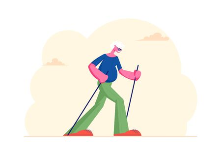 Senior Gentleman Engaged Outdoors Fitness Class in City Park Walking with Scandinavian Sticks. Healthy Lifestyle and Sport Activity, Old Man Morning Sports Exercise. Cartoon Flat Vector Illustration