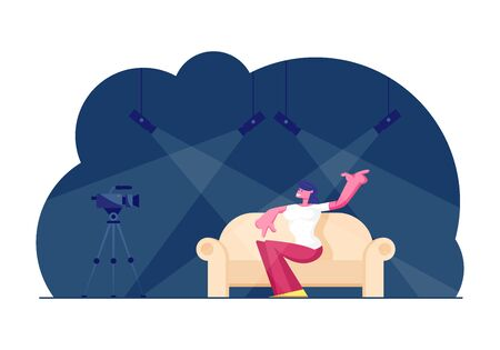 Woman Celebrity Sitting on Couch in Broadcasting Studio with Light Equipment for Giving Interview on Television Entertainment Program. Tv Night Show with Girl Guest. Cartoon Flat Vector Illustration Çizim
