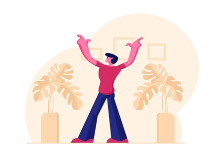 Young Male Character Rear View Stand with Hands Up in Living Room with Potted Plants Excited with Getting Christmas Present or Good News. Emotional Man Expression. Cartoon Flat Vector Illustration