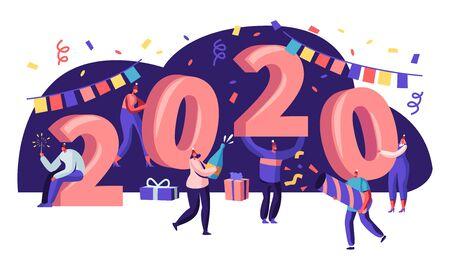 Piccole persone che si divertono e fanno regali a enormi numeri del 2020. Biglietto di auguri per il concetto di felice anno nuovo. Congratulazioni, poster di invito, banner, flyer, brochure. Cartoon piatto illustrazione vettoriale Vettoriali