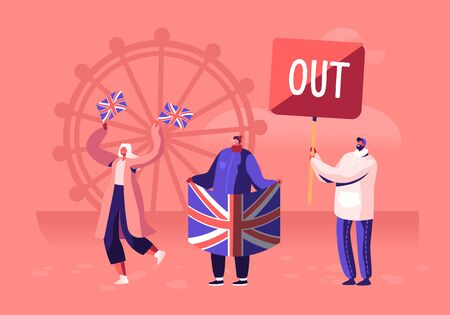 Crowd of People with Traditional Britain Flags Anti Brexit Supporters on Demonstration for United Kingdom Leaving European Union. International Politics Concept. Cartoon Flat Vector Illustration Иллюстрация