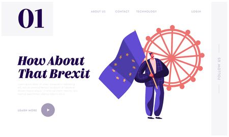 Brexit of British Concept for Website Landing Page. Supporter Brexiteer in Central London Holding Flag with Stars Campaigning to Stay in European Union Web Page Banner Cartoon Flat Vector Illustration Illustration