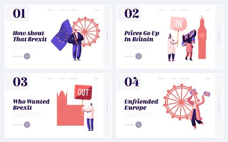 Brexit and Anti Brexit Supporters Demonstration Website Landing Page Set. People with Britain and European Union Flags United Kingdom Politics Concept Web Page Banner. Cartoon Flat Vector Illustration Illustration
