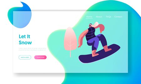 Wintertime Activity and Extreme Outdoors Snowboarding Sport Website Landing Page. Young Woman Jumping with Snowboard. Sportswoman Training or Relaxing Web Page Banner. Cartoon Flat Vector Illustration