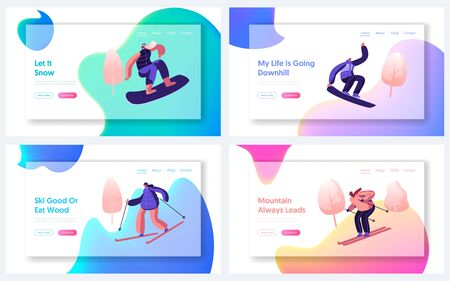 Winter Sports, Active Outdoors Leisure Spare Time Website Landing Page Set. Sportswoman and Sportsman Training or Relaxing Riding at Skis and Snowboard Web Page Banner Cartoon Flat Vector Illustration